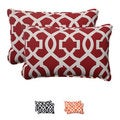 Pillow Perfect Red Outdoor New Geo Corded Rectangular Throw Pillow (Set of 2)