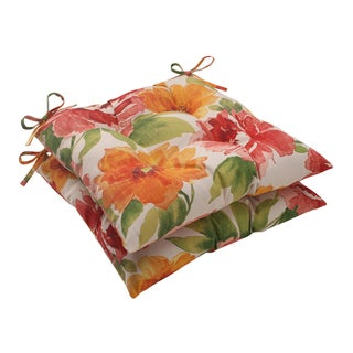 Pillow Perfect Orange Outdoor Primro Tufted Seat Cushion (Set of 2)