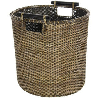 Antique Finish Rattan Round Wastebasket (China)