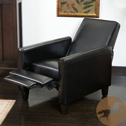 Christopher Knight Home Darvis Black Leather Recliner Club Chair