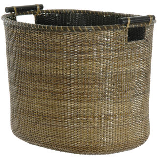 Antique Finish Rattan Oval Storage Bin (China)