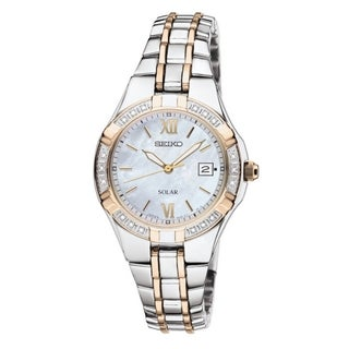 SEIKO Women's Solar Mother-Of-Pearl Two-Tone Diamond Watch