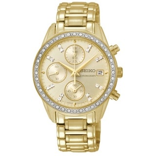 SEIKO Women's Chronograph Gold Diamond Watch