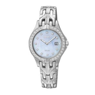 SEIKO Women's Solar Mother-Of-Pearl Dial Stainless Steel Diamond Watch