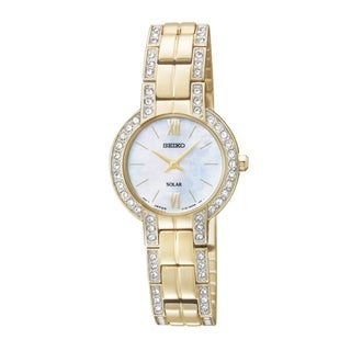 SEIKO Women's Solar Gold Mother-Of-Pearl Watch