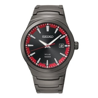 SEIKO Men's Solar Black Ion Dial Red Accent Watch