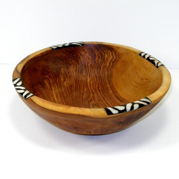 Handcarved Round 9-inch Olive Wood Bowl with Bone Inlay