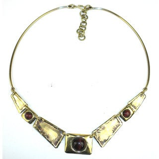 Handcrafted Red Tiger Eye Brass Necklace (South Africa)