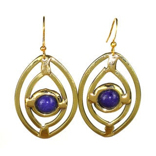 Handcrafted Purple Jade Ellipse Brass Earrings (South Africa)