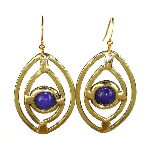 Handcrafted Purple Jade Ellipse Brass Earrings (South Africa)