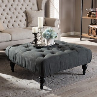 Baxton Studio Keswick Beige Linen Modern Tufted Ottoman