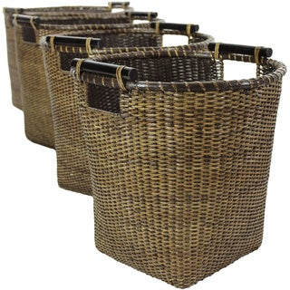 Set of Four Antique Finish Rattan Tall Storage Basket Set (China)