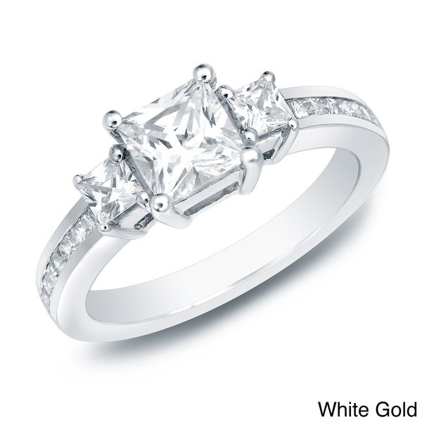 Auriya 14k Gold 1 1/2ct TDW Certified Diamond Engagement Ring (H-I, SI1-SI2)