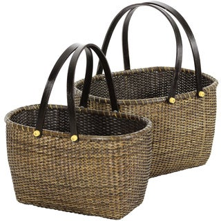 Set of Two Rattan Open Storage Basket with Handles Set (China)
