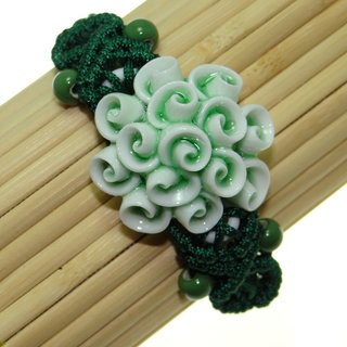 Handmade Ceramic Green Flower Bracelet (China)