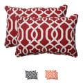 Pillow Perfect Red Outdoor New Geo Corded Oversized Rectangular Throw Pillow (Set of 2)