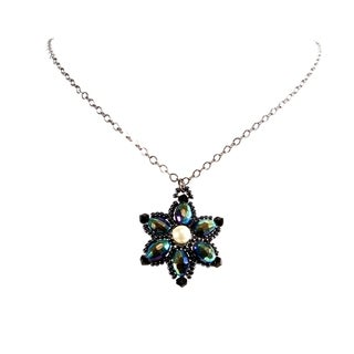Gunmetal Chain Handmade Flower Design Beaded Crystal Necklace