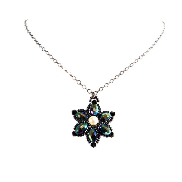 Gunmetal Chain Handmade Flower Design Beaded Crystal Necklace