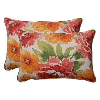 Pillow Perfect Outdoor Corded Oversized Orange Rectangular Throw Pillows (Set of 2)