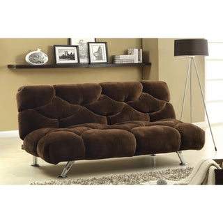 Furniture of America Modern Deep Dark Brown Cushion Champion Fabric Sofabed/Futon
