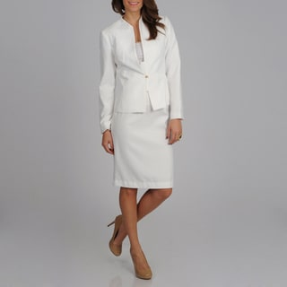 Signature by Larry Levine Women's White Subtle Dot Print Skirted Suit