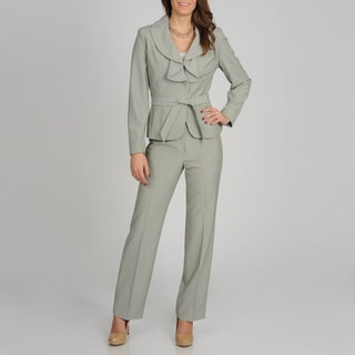 Signature by Larry Levine Women's Sage Ruffled Jacket Pant Suit