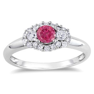 Miadora 14k White Gold 1/2ct TDW Pink-and-white Round Diamond Ring (G-H, I1-I2)