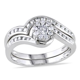 Miadora 10k White Gold 1/2ct TDW Diamond Bridal Ring Set (H-I, I2-I3) with Bonus Earrings