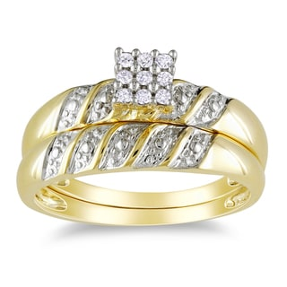 Miadora 10k Yellow Gold 1/10ct TDW 2-Piece Diamond Ring Set (H-I, I2-I3)