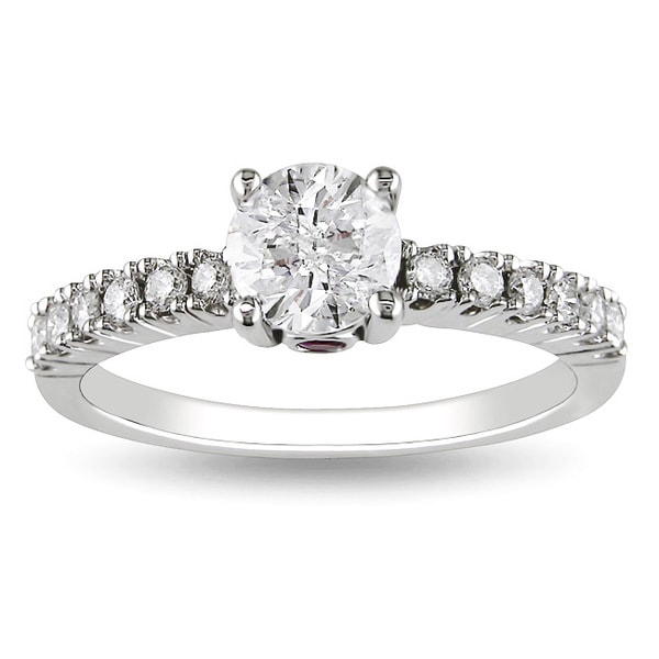 L'Amour Enrose by Miadora 14k White Gold 1ct TDW Diamond Engagement Ring (H-I, I2-I3)