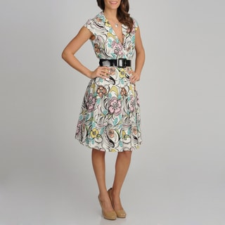 Cece&#39;s New York Women&#39;s Floral Print Belted Sundress