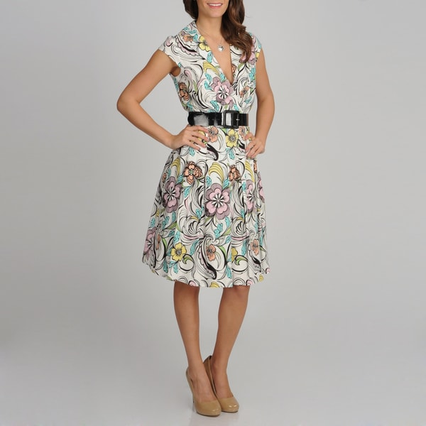 Women's Floral Print Belted Sundress