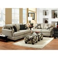 Furniture of America Florise Contemporary 2-Piece Plush Sofa-Love Set