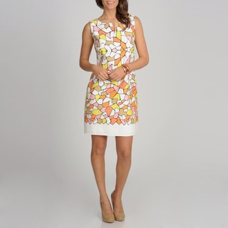 Women's Orange Geometric Printed Sleeveless Sundress