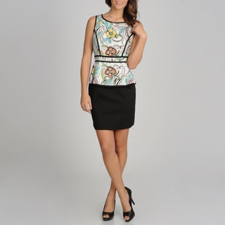 Women's Two-tone Floral Sleeveless Peplum Dress