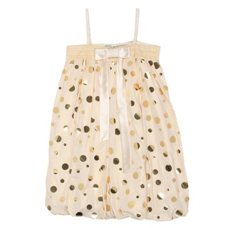 Paulinie Collection Girls' Gold Bow Bubble Dress