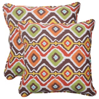 Pillow Perfect Outdoor Mesa Corded 18.5-inch Brown Throw Pillows (Set of 2)