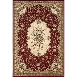 Traditional Red Savonnerie Area Rug (5'3 x 7'10)