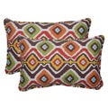 Pillow Perfect Abstract Outdoor Mesa Corded Brown Throw Pillows (Set of 2)