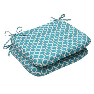 Pillow Perfect Outdoor Hockley Teal Seat Cushions (Set of 2)