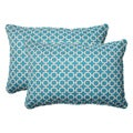 Pillow Perfect Outdoor Hockley Teal Oversized Throw Pillows (Set of 2)