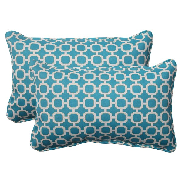Pillow Perfect Outdoor Hockley Teal Throw Pillows Set of 2