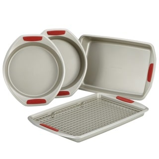 KitchenAid Gourmet Bakeware 5-Piece Bakeware Set with Silicone Red Grips