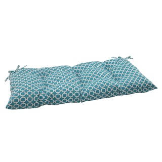 Pillow Perfect Teal Outdoor Hockley Tufted Loveseat Cushion