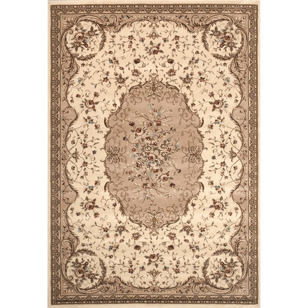 Beige Aubusson Area Rug (4' x 5'3)