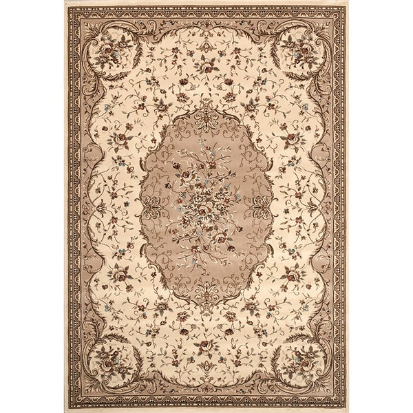 Beige Aubusson Area Rug (7'10 x 10'2)
