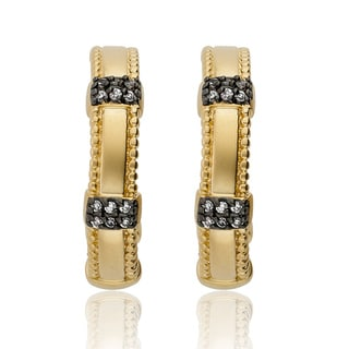 Riccova 14k Goldplated Cubic Zirconia Half-hoop Earrings