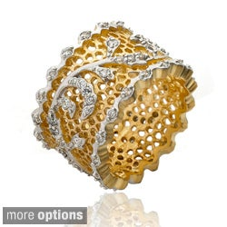 Riccova 14k Goldplated Cubic Zirconia Vine Detail Lace Ring