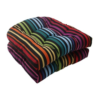 Pillow Perfect Black Outdoor Godivan Wicker Seat Cushion (Set of 2)