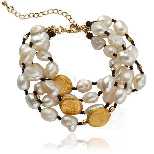 Riccova Goldtone Freshwater Pearl 4-strand Bracelet (8-10 mm)